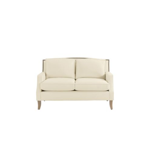 Carlton Upholstered Loveseat with Brass Nailheads