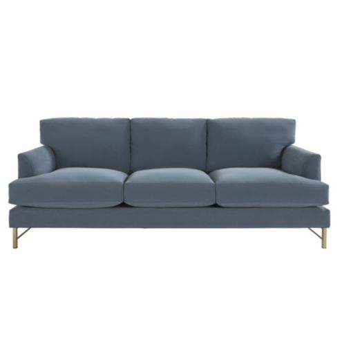 Kathryn Velvet Sofa Dusty Blue Performance Fabric -