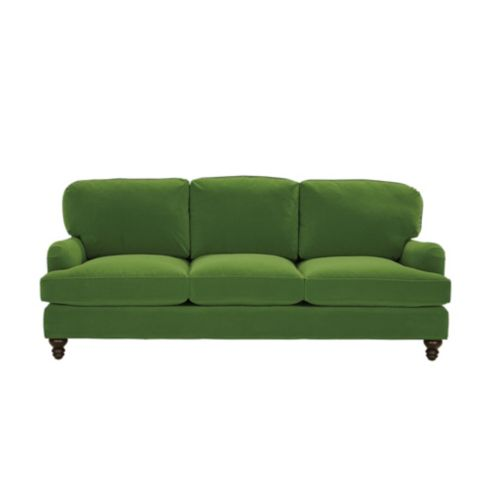 Eton Sofa in Performance Velvet Green with Walnut