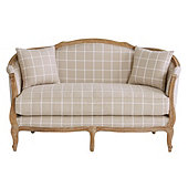 Limited Edition Sofia Settee Daisy Windowpane Natural with Limed Oak Finish
