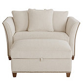 Tate Twin Sleeper with Ottoman in Justify Driftwood InsideOut® Performance with Brass Nails & Sierra finish