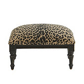 Louis XVI Footstool in Leopard Safari Skin Sunbrella & Distressed Black Finish - Stocked