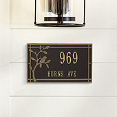 Morningside Bird Rectangle Wall Address Plaque