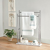 Marble Floor 2-Tier Towel Holder