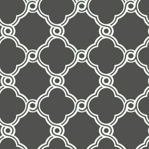 Fretwork Trellis Wallpaper Double Roll Charcoal Gray/White