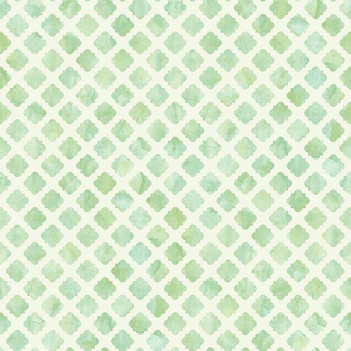 Tile Wallpaper Green White Double Roll