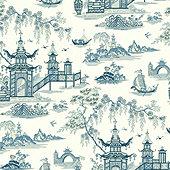Floral Pagoda Wallpaper
