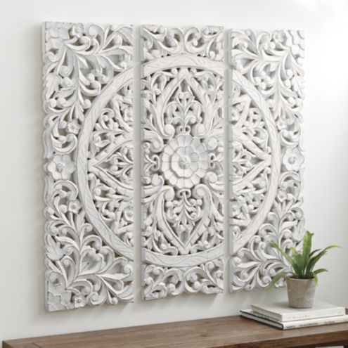 Hana Carved Wood Wall Art