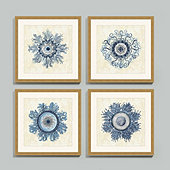 Indigo Jellyfish Bloom Framed Print