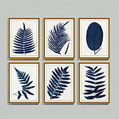 Indigo Fern Leaf Art