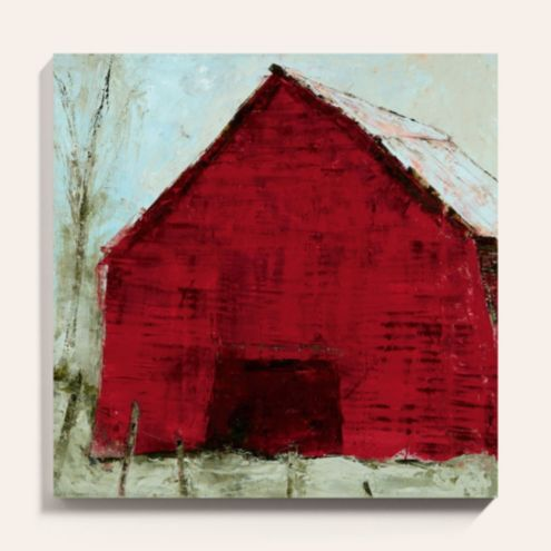 Red Barn Stretched Canvas Art Print