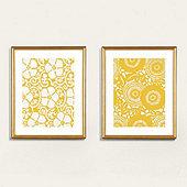Petite Floral Blockprint Art