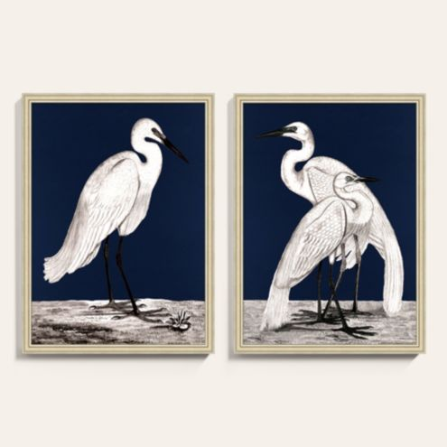 Heron on Blue Framed Art Print