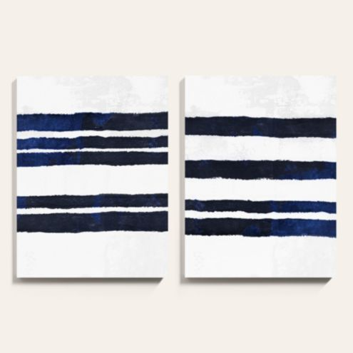Navy Blue Stripe Abstract Art Canvas Print