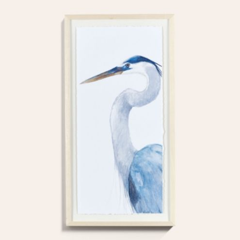 Gazing Heron Framed Bird Art Print