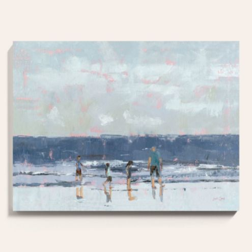 A Walk on the Beach Stretched Canvas Art
