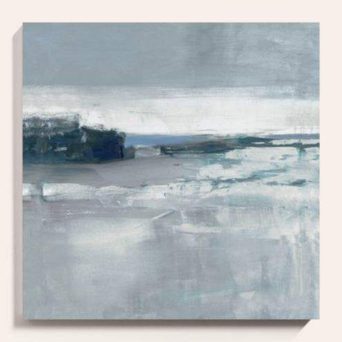 Horizon In Blue Abstract Stretched Canvas Art Print