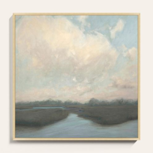 Pastel Marsh Framed Canvas Art Print