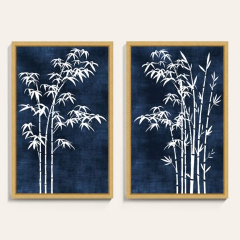 Bamboo on Indigo I Framed Art Print