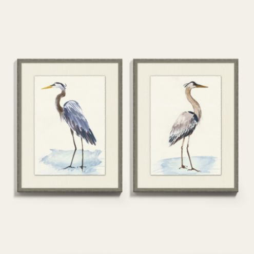 Beach Blue Heron Framed Art Prints Series