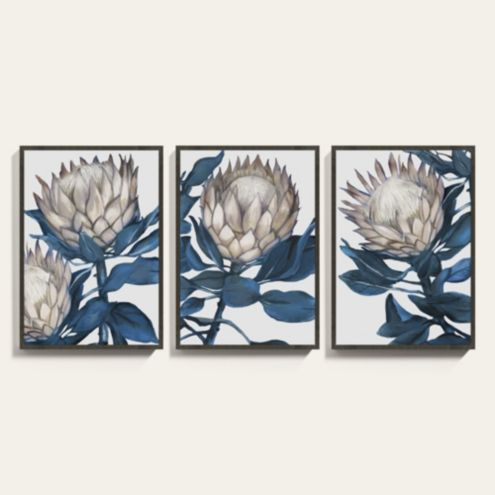 Bold and Blue Botanical Painting Framed Art Prints