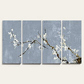 Sakura Blossoms Art - Set of 4, Cornflower