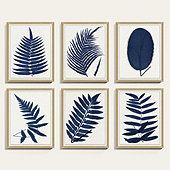 Indigo Fern Leaf Oak Framed Print